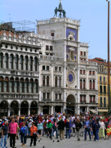 Blue clock tower photo