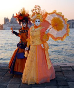 Orange and red carnival masks photo