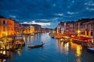 Venice at night gondola ride photo